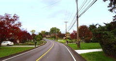 Driver's Perspective on Rural Western Pennsylvania Residential Street Stock Footage