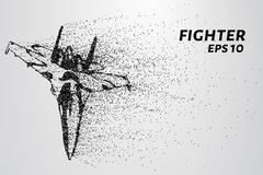 Fighter of the particles. The silhouette of the aircraft consists of small ci Stock Illustration