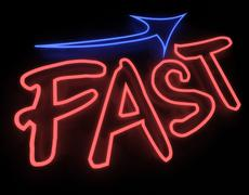 Fast neon sign isolated on black background Stock Illustration
