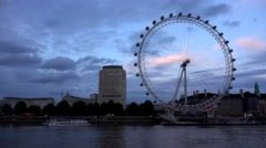 4K London Eye Timelapse, Boats on Thames River in Sunset, Ferry Wheel View in UK Stock Footage