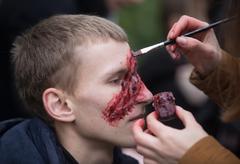 Zombie parade in the streets of Kiev Stock Photos