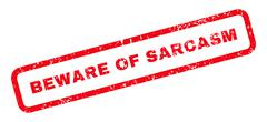 Beware Of Sarcasm Text Rubber Stamp Stock Illustration