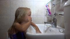 4K Girl Washing Hands, Face, Child Portrait in Bathroom, Kid Healthy Hygiene     Stock Footage