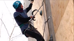 Mountaineer trains on the mountain. Success. Motivation. Stock Footage