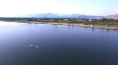 Rower in action. Aerial view clip Stock Footage
