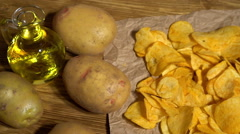Cheese potato chips dolly Stock Footage