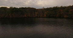 Housatonic River Sandy Hook CT shoreline approach Stock Footage