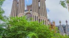 Biggest attraction in Barcelona, La Sagrada Familia Stock Footage