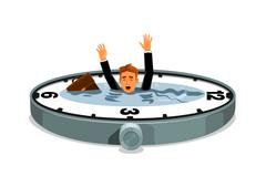 Businessman drowning in time Piirros