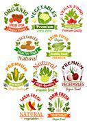 Vegetables labels set for food industry Stock Illustration