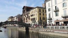 Navigli touristic area in Milan, Italy Stock Footage