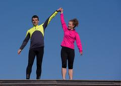 Congratulate and happy to finish morning workout Stock Photos