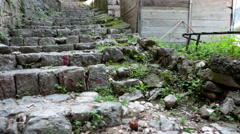 Ancient stone stairs of old fortress of Kotor. Way to the castle on the top Stock Footage
