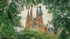 Church in Barcelona La Sagrada Familia Stock Footage