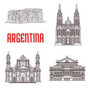 Argentina natural and architecture landmarks Piirros