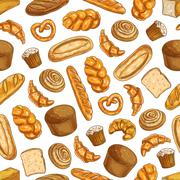 Bakery fresh baked bread seamless sketch pattern Stock Illustration