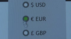 The arrow in the selection pointer currency,selection Stock Footage