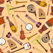 Vector musical pattern with musical instruments Stock Illustration
