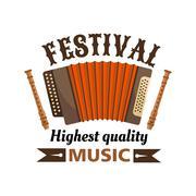 Music festival isolated vector label emblem Stock Illustration