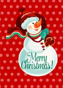 Christmas snowman with gift bag for card design Stock Illustration
