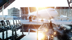 Airport terminal. fly animation. Wonderfull sunset. Buisnes and travel concept Stock Footage