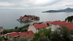 Sveti Stefan city and the same name island in Adriatic sea. Balkans, Montenegro Stock Footage
