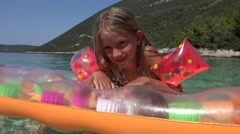 4K Girl Portrait in Sea Waves, Beach View, Happy Child Face Smiling at Camera Stock Footage