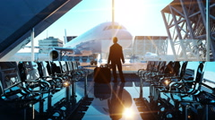 Man in airport terminal. fly animation. Wonderfull sunset. Business and travel c Stock Footage
