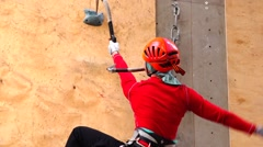 Climber is steadily moving upwards. Motivation. Mountain Stock Footage