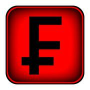 Swiss franc symbol button Stock Illustration