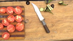 Cutted vegetables prepared for BBQ Stock Footage