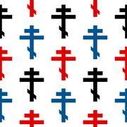 Religious orthodox cross symbol seamless pattern Stock Illustration