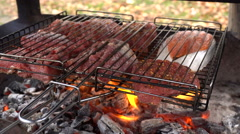 Meat and fish grilling on barbecue Stock Footage