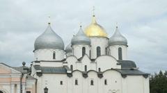 St.Sophia cathedral in Novgorod Kremlin, Russia Stock Footage