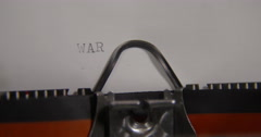 Typewriter concept:word  WAR Stock Footage