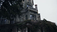 Old abandoned mansion in mystic spooky forest Stock Footage