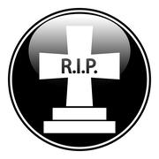 Grave symbol button Stock Illustration