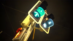 Traffic lights blinking with different colors, public transportation and rules Stock Footage