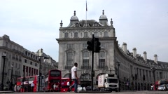 4K London Traffic at Piccadilly Circus Timelapse, People Tourist Crossing Street Stock Footage