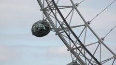 4K London Eye Closeup, People in Amusement Park, Ferry Wheel Attraction in UK Stock Footage