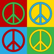 Pop art peace symbol icons Stock Illustration