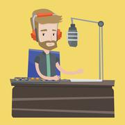 Male dj working on the radio vector illustration Stock Illustration