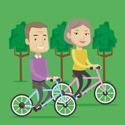 Happy senior couple riding on bicycles in the park Stock Illustration