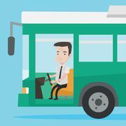Caucasian bus driver sitting at steering wheel Stock Illustration