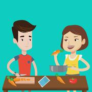 Couple cooking healthy vegetable meal Piirros