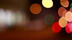Christmas street illumination. Defocused city lights. Blurred night traffic ligh Stock Footage