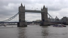 4K London Tower Bridge, Thames River View with Ship and Boats, Tourists Visit UK Stock Footage