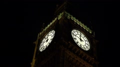4K London Big Ben Closeup by Night, Elisabeth Tower Clock, Landmark in UK Stock Footage