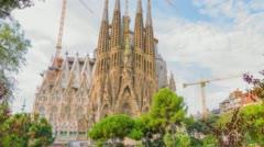 Famous Barcelona attraction La Sagrada Familia Stock Footage