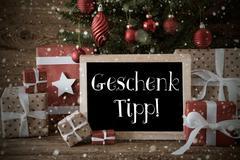 Nostalgic Christmas Tree, Snowflakes, Geschenk Tipp Means Gift Tip Kuvituskuvat